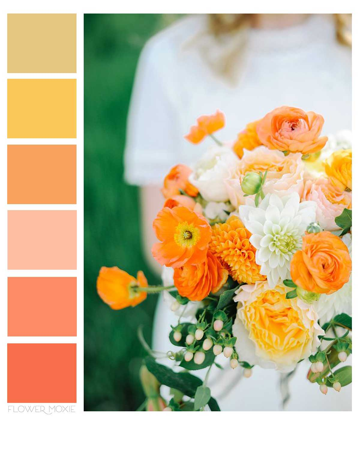 peach yellow and orange wedding flower packages