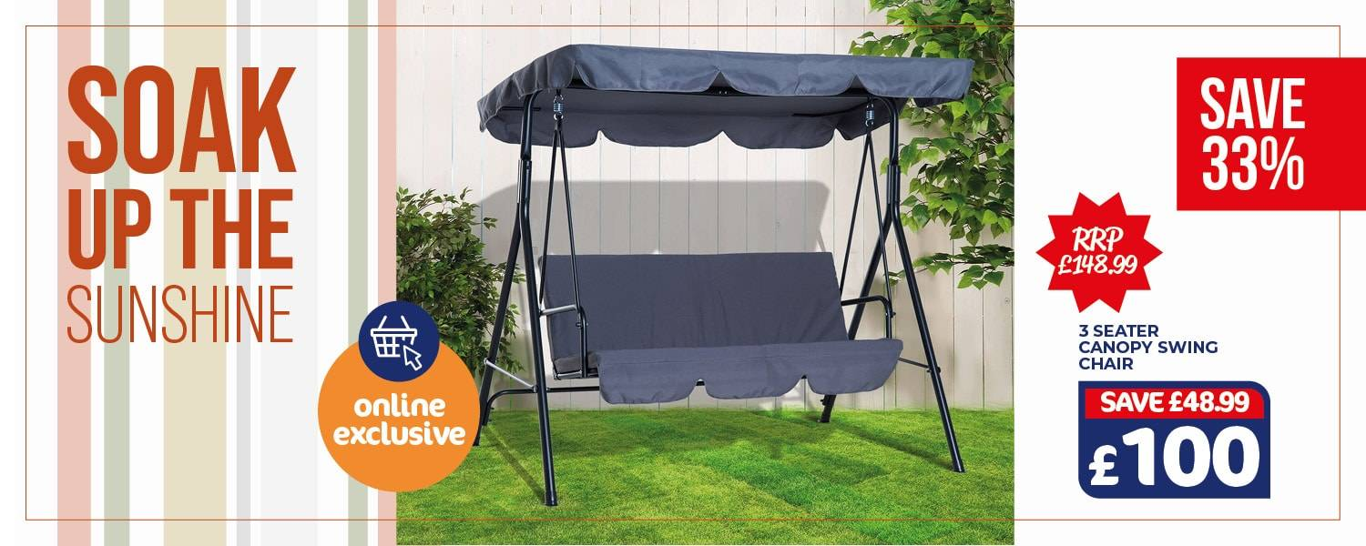 Soak up the sunshine with a 3 seater canopy swing chair available as an online exclusive