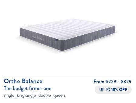 Mattress price and size selection