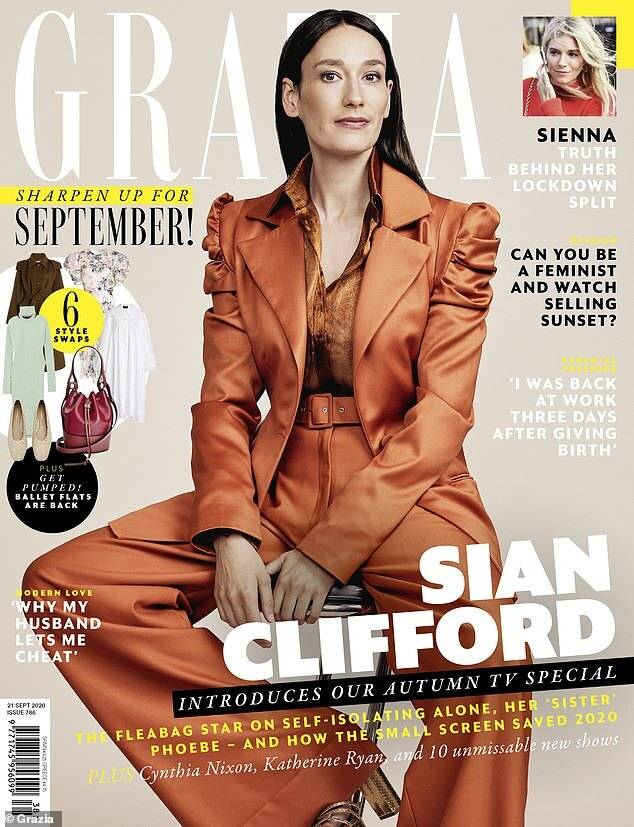 Sian Clifford on the Grazia UK cover wearing Galvan London Designer Puffy Sleeves Georgette Shirt