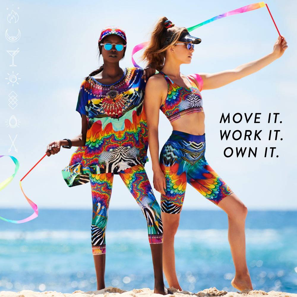 CAMILLA Zenwear | Rainbow yoga pant, short, tee and crop.