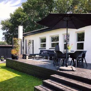 Terrasse Holz Baser Sonnenschirmständer Garten Tisch Schatten