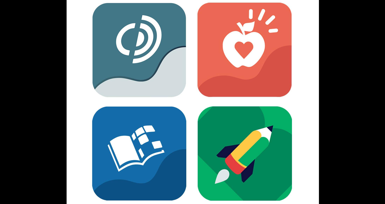 sett med fire Tobii Dynavox kommunikasjonsapp-logoer