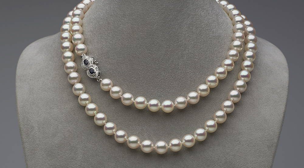 Custom Design Akoya Pearl and Sapphire Necklace