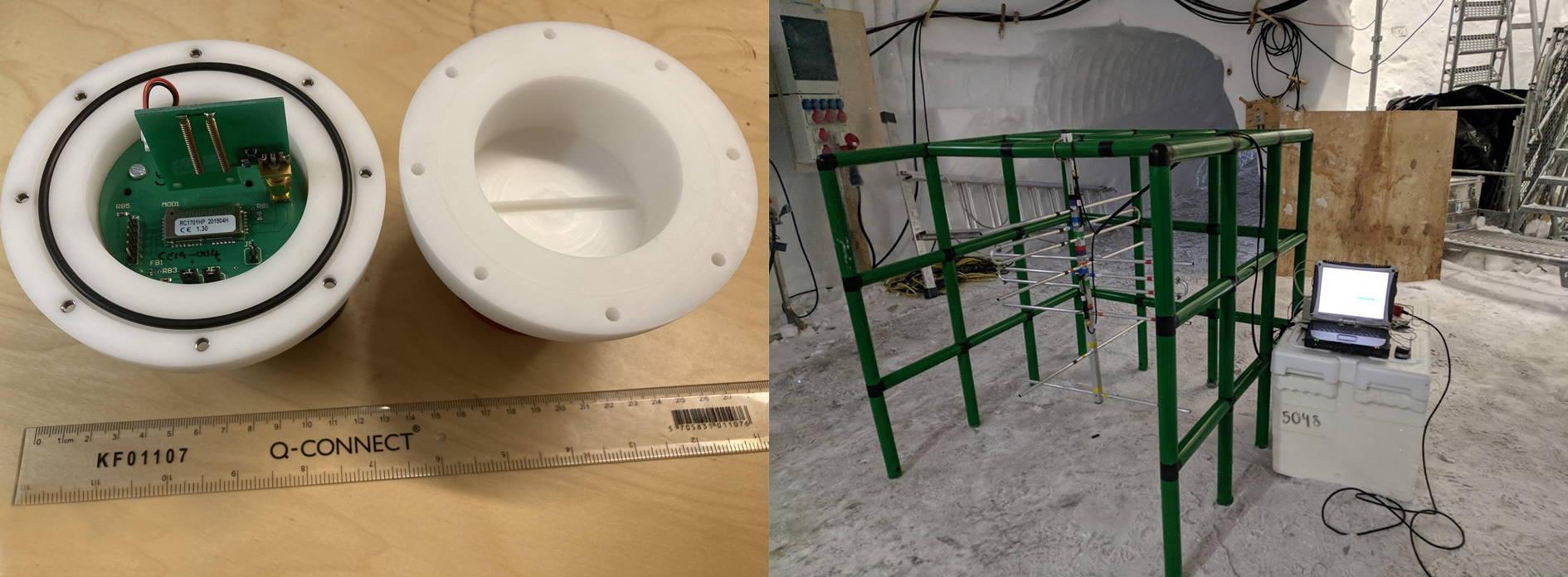 Po lewej: wnętrze Cryoegg. Po prawej: Konstrukcja QUADRO z anteną. © Mike Prior-Jones, Cambridge University Press