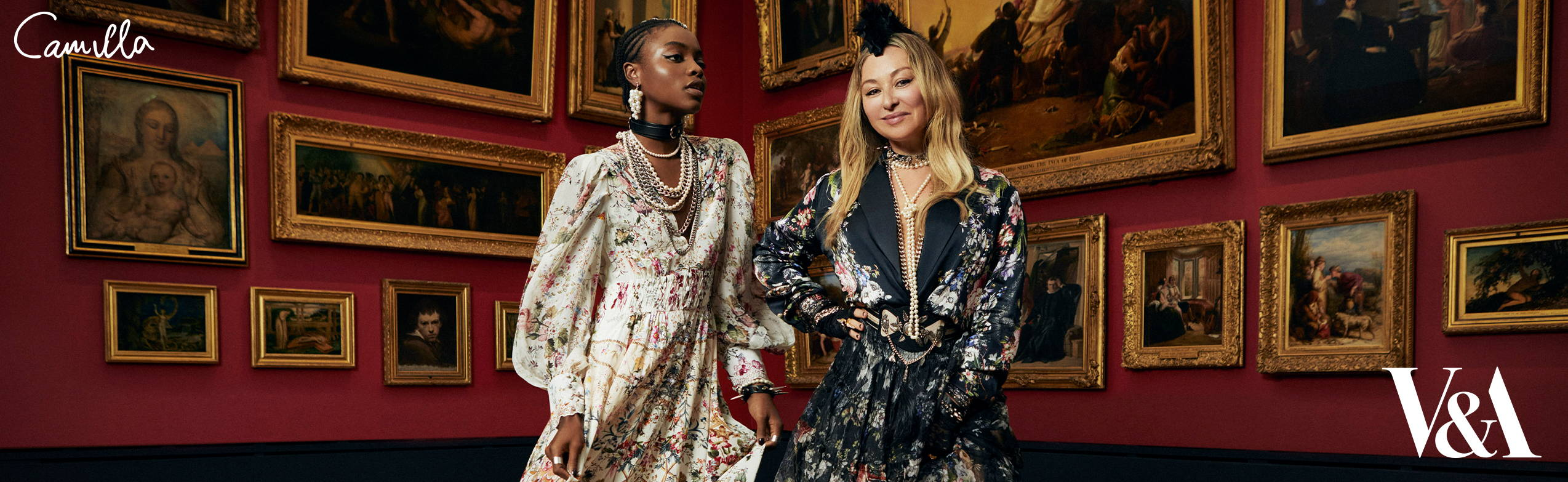 CAMILLA x The Victoria and Albert Museum Capsule Collection | Camilla Frank wearing black floral jacket and skirt, Model wearing cream floral dress