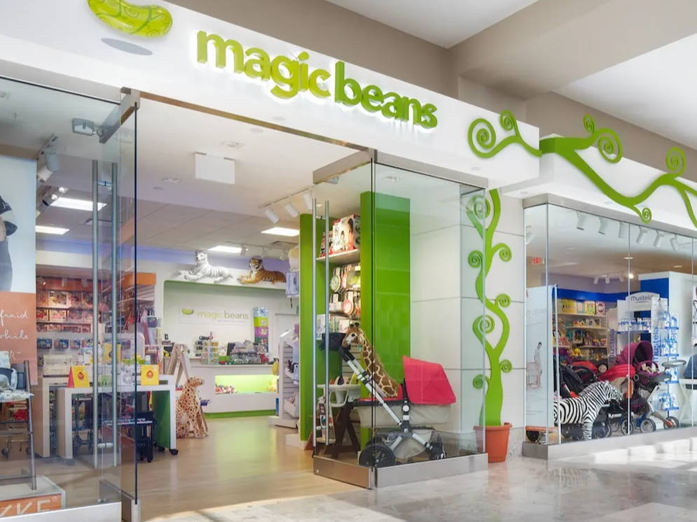 Magic Beans store front in the Prudential Center, Boston