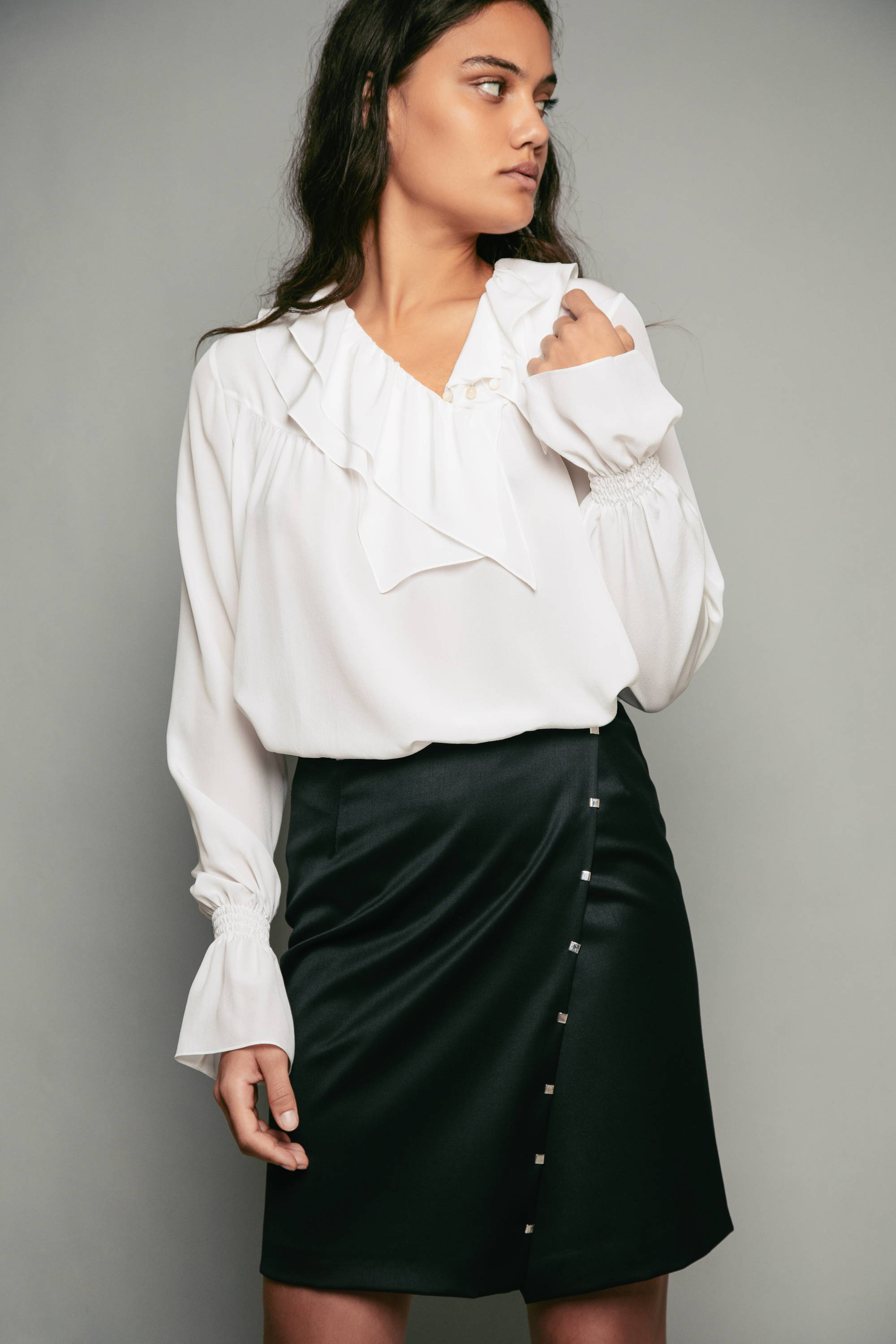 PENDA • Luxury Designer Fashion  • Charming Crepe de Chine Satin Blouse • Sustainable wool Skirt embroidered with silver rings