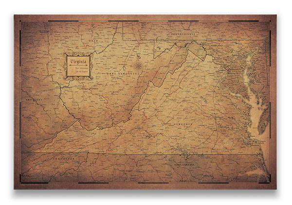 Virginia Push pin travel map golden aged