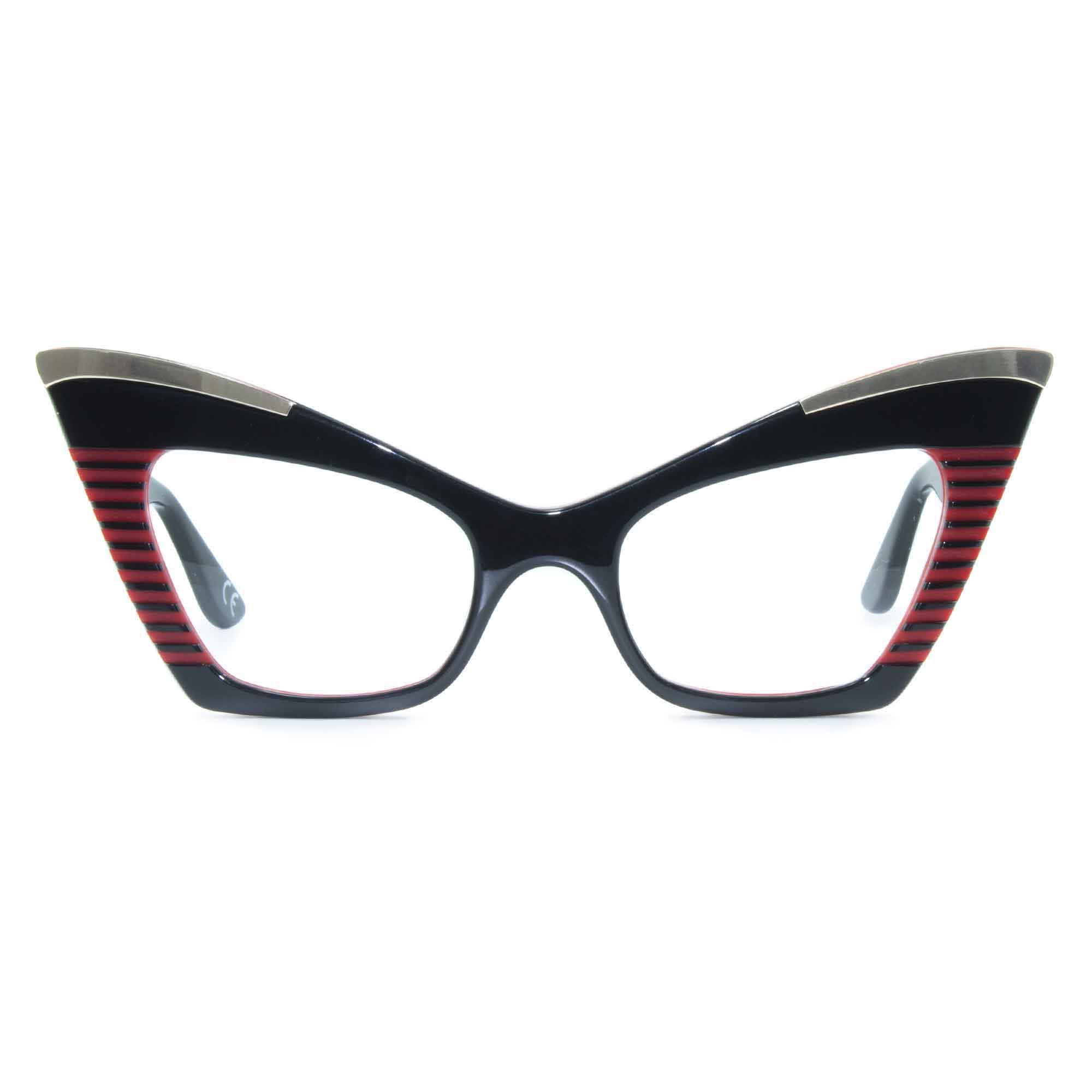 Joiuss doreen black & red cat eye glasses