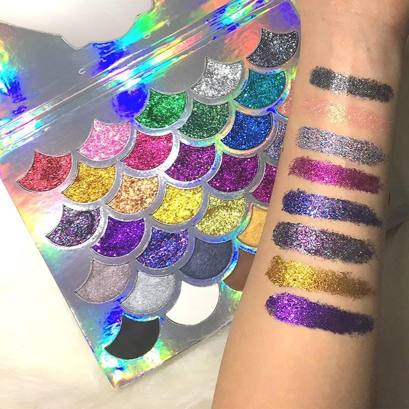 the original mermaid glitter palette cleof cosmetics