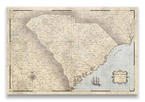 South Carolina Push pin travel map rustic vintage