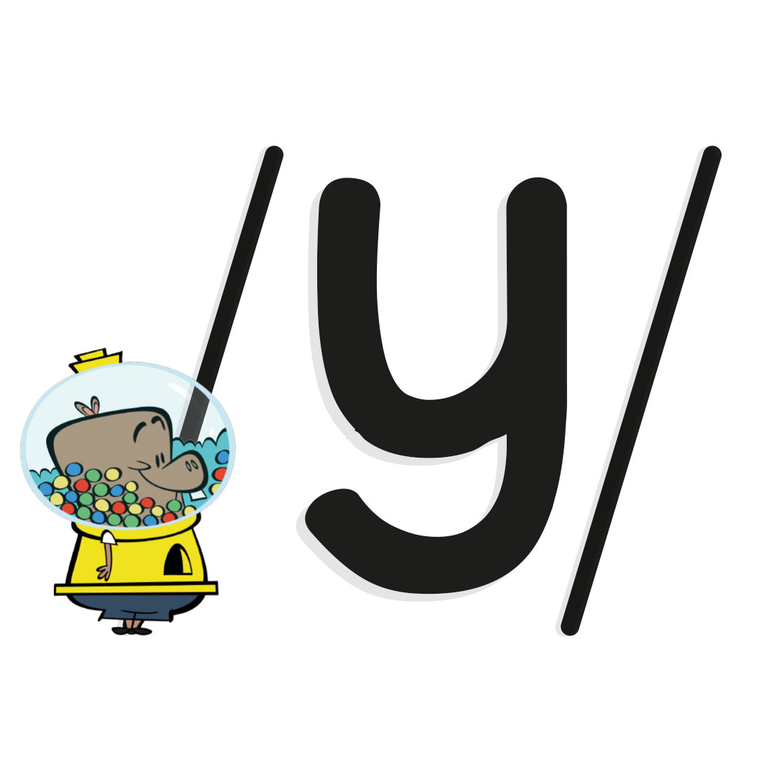 Illustrated character next to the phoneme /y/