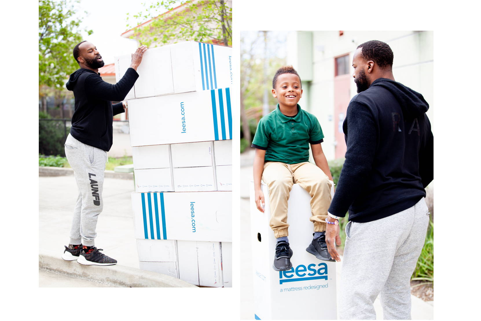 Former NBA player Baron Davis volunteering with Leesa on a mattress delivery for kids in need