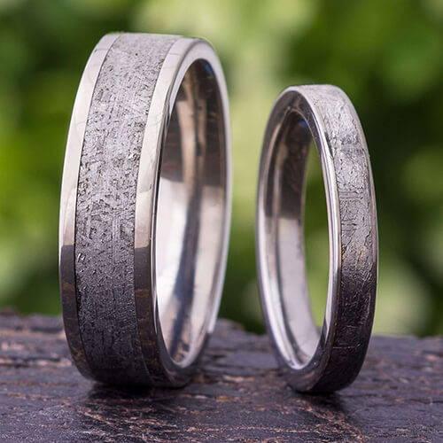 His and Hers Meteorite Rings