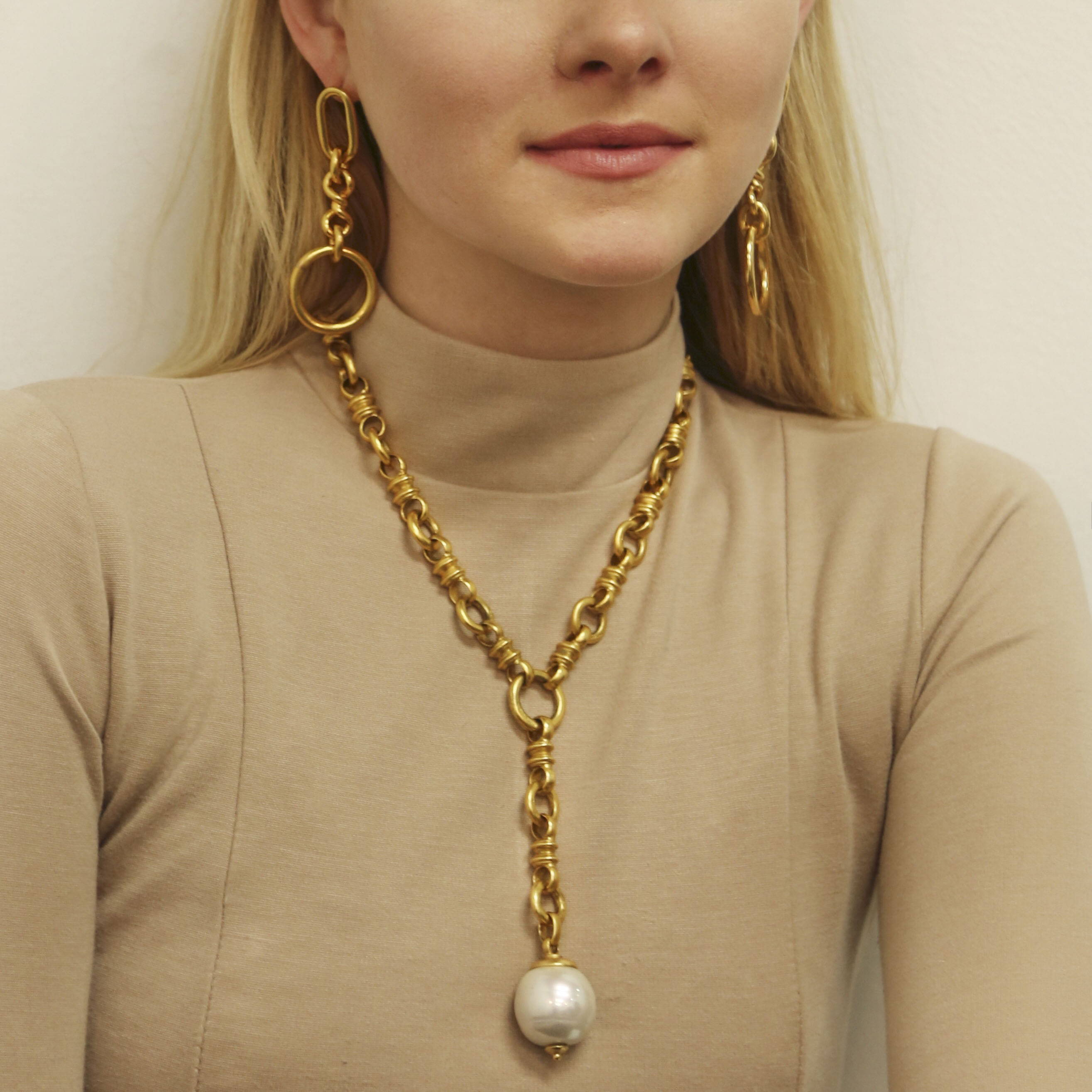 Gold Link Earrings and Dangling Glass Pearl Necklace