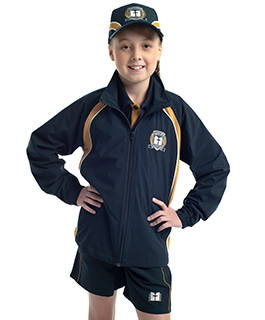 Valour Sport custom track jacket, sports shorts and sports cap for Toongabbie Christian College