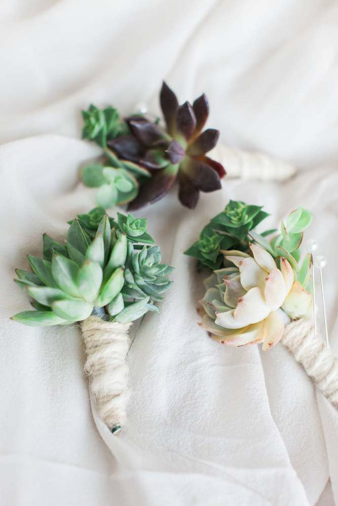 succulent boutonniere wedding groom