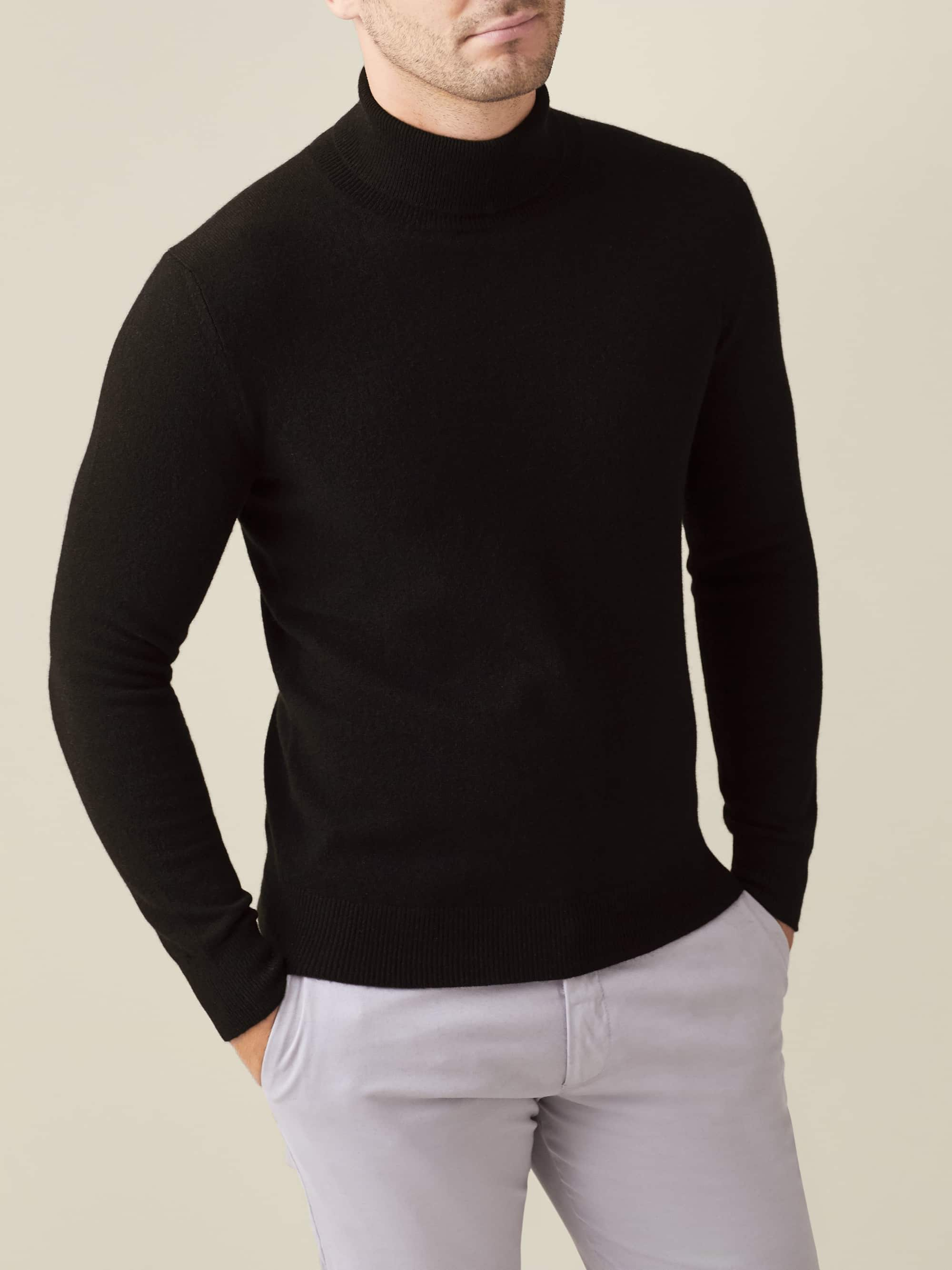 Luca Faloni Black Pure Cashmere Roll Neck Made in Italy