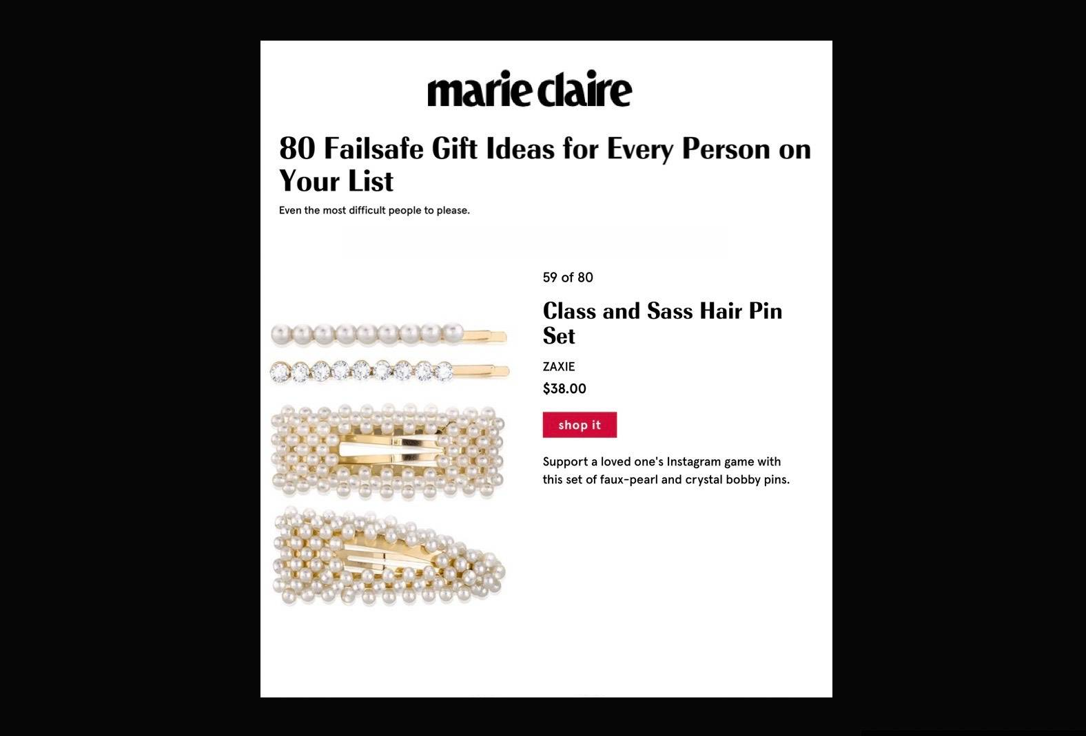 ZAXIE Class And Sass Hair Pin Set on MarieClaire.com