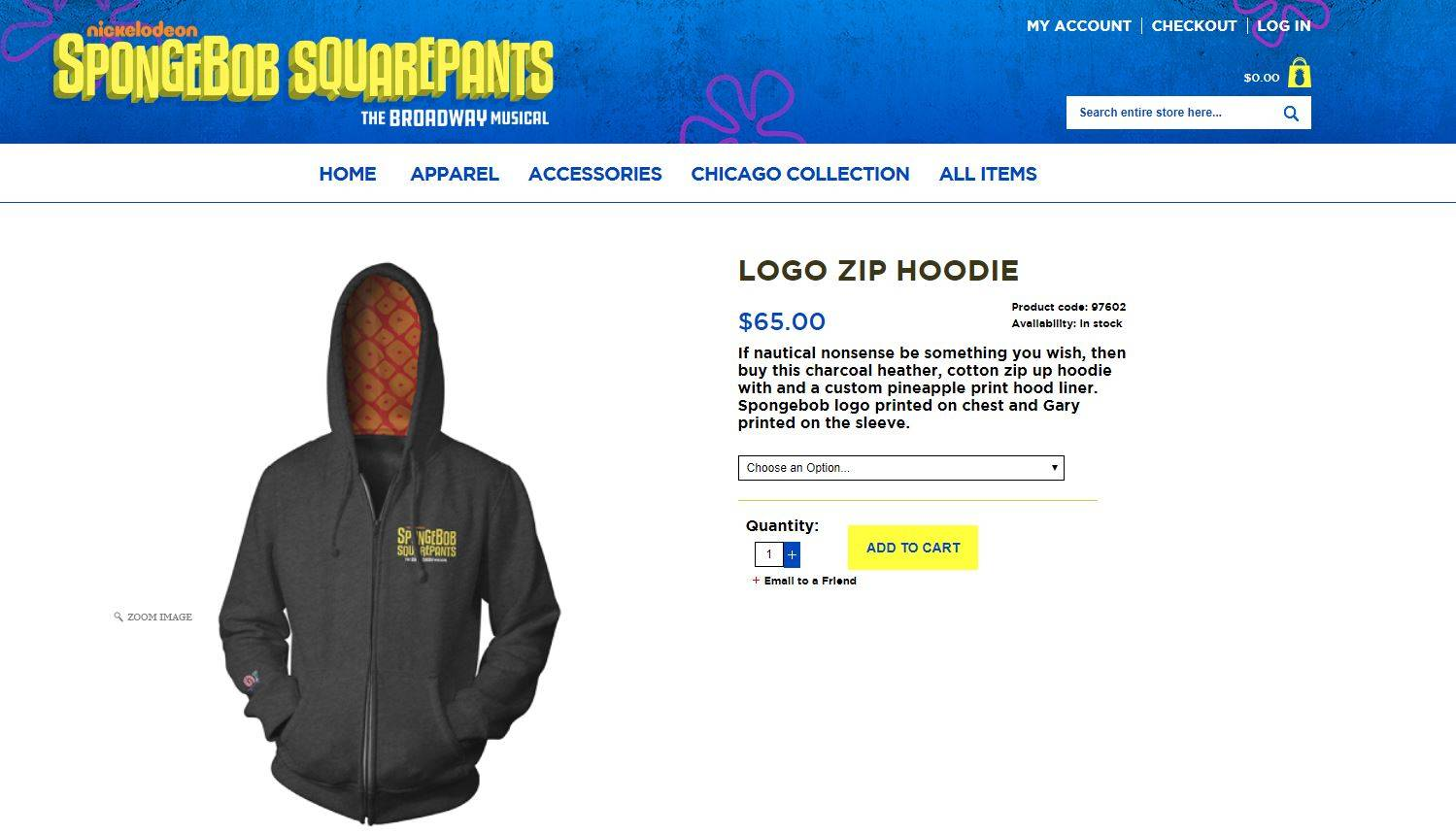 Custom hoodie designed for Spongebob Squarepants The Broadway Musical