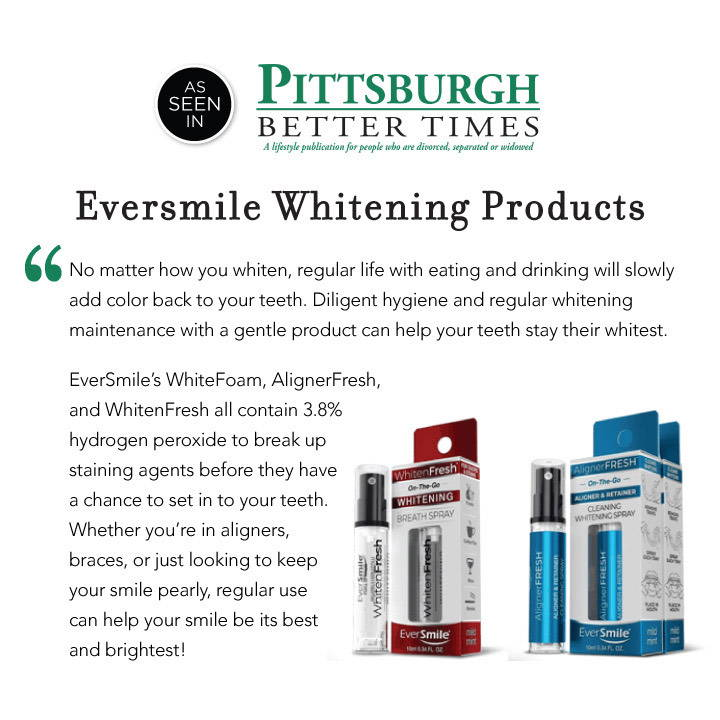 A screenshot of the header for the Pittsburgh Better Times publication and their text on WhitenFresh and Alignerfresh, with an image of the box and sprayer for both products