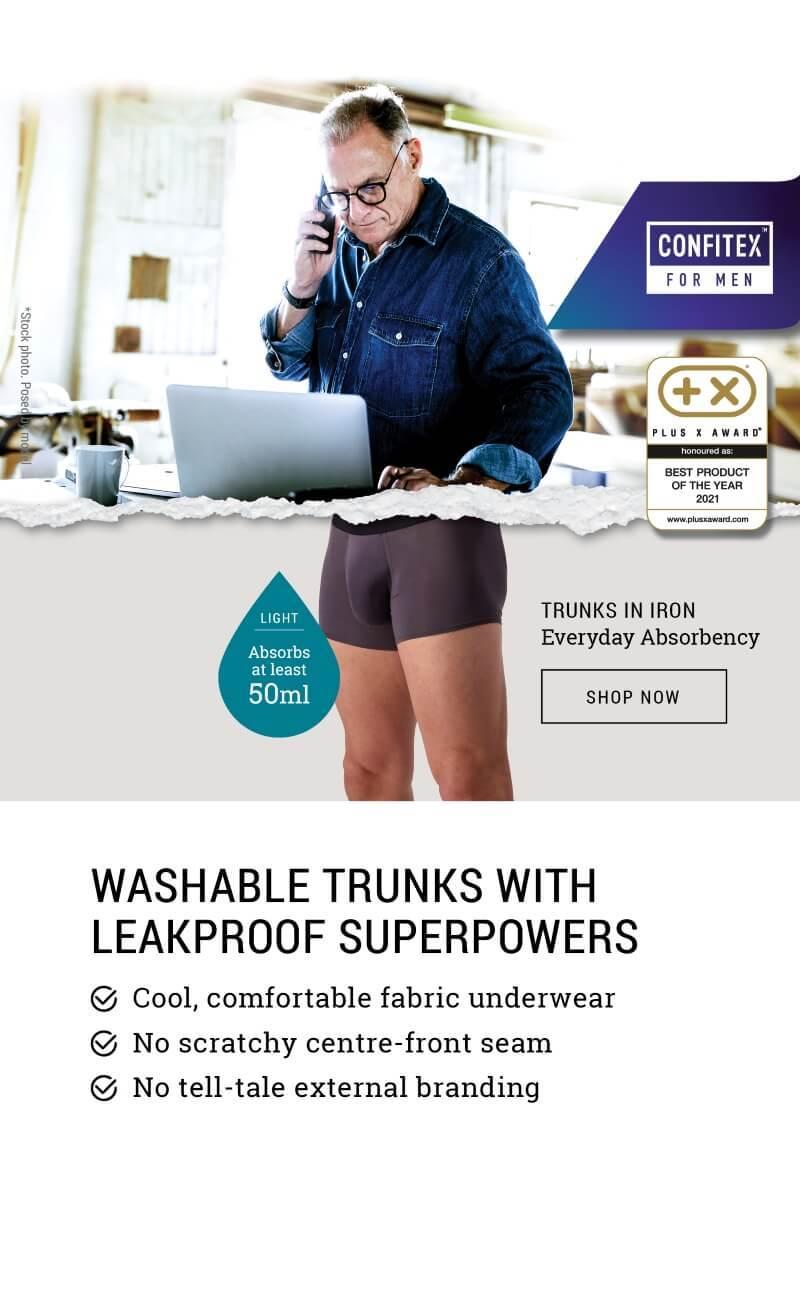 man wearing Confitex for Men Everyday absorbent underwear