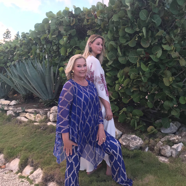 Ala & daughter Sunny in Sea Rope Signature set and Pink Coral Kaftan