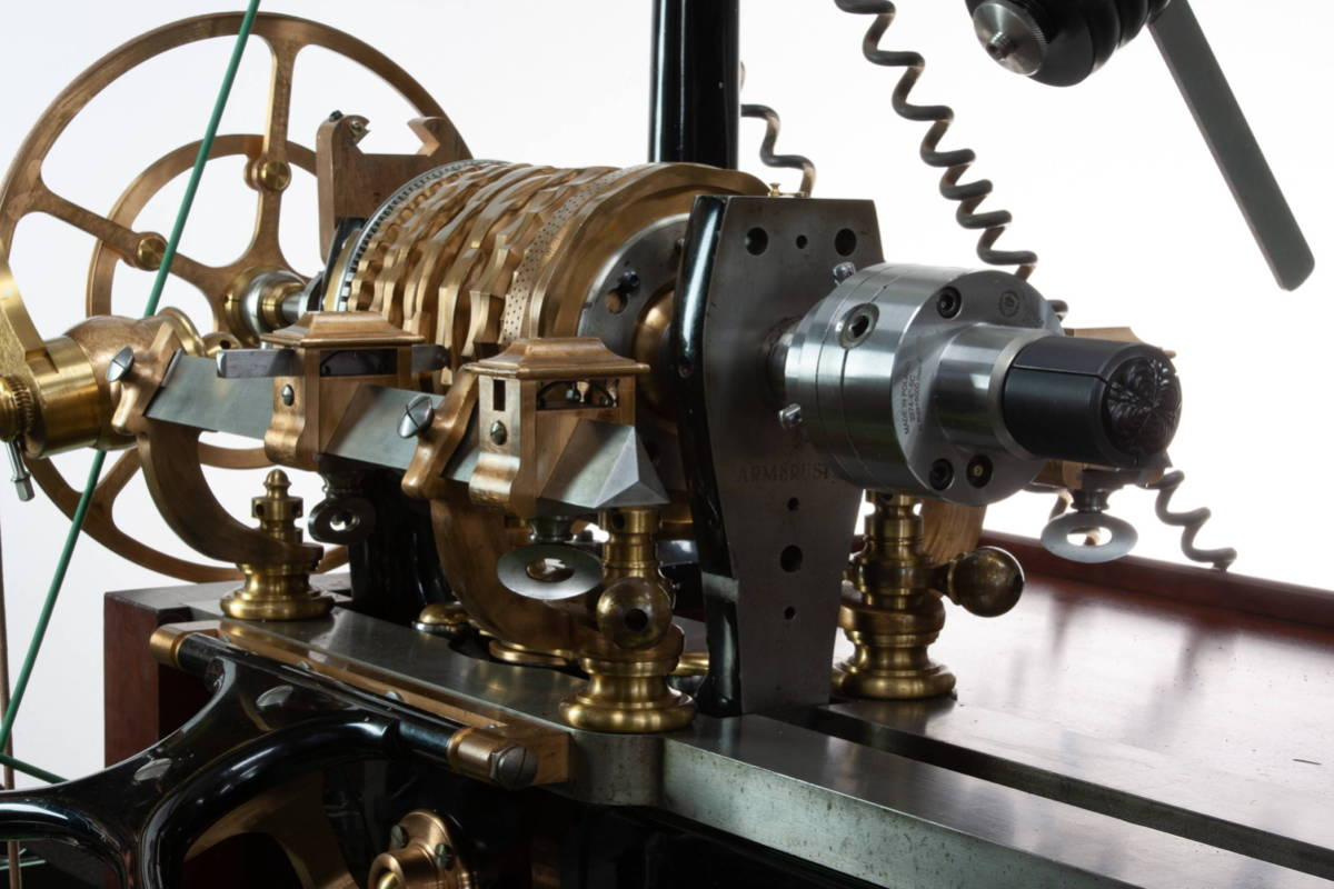 Trefoil set up on the MK II Rose Engine Lathe for use in our iconic Mandala Rings