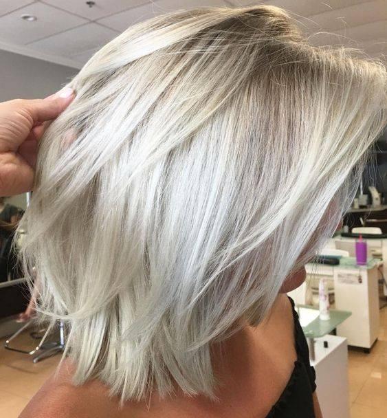Platinum Blond And Blond Balayage On A Lob