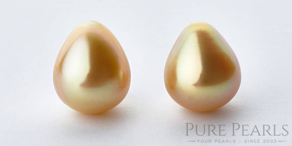 A pair of perfect golden south sea pearl drops