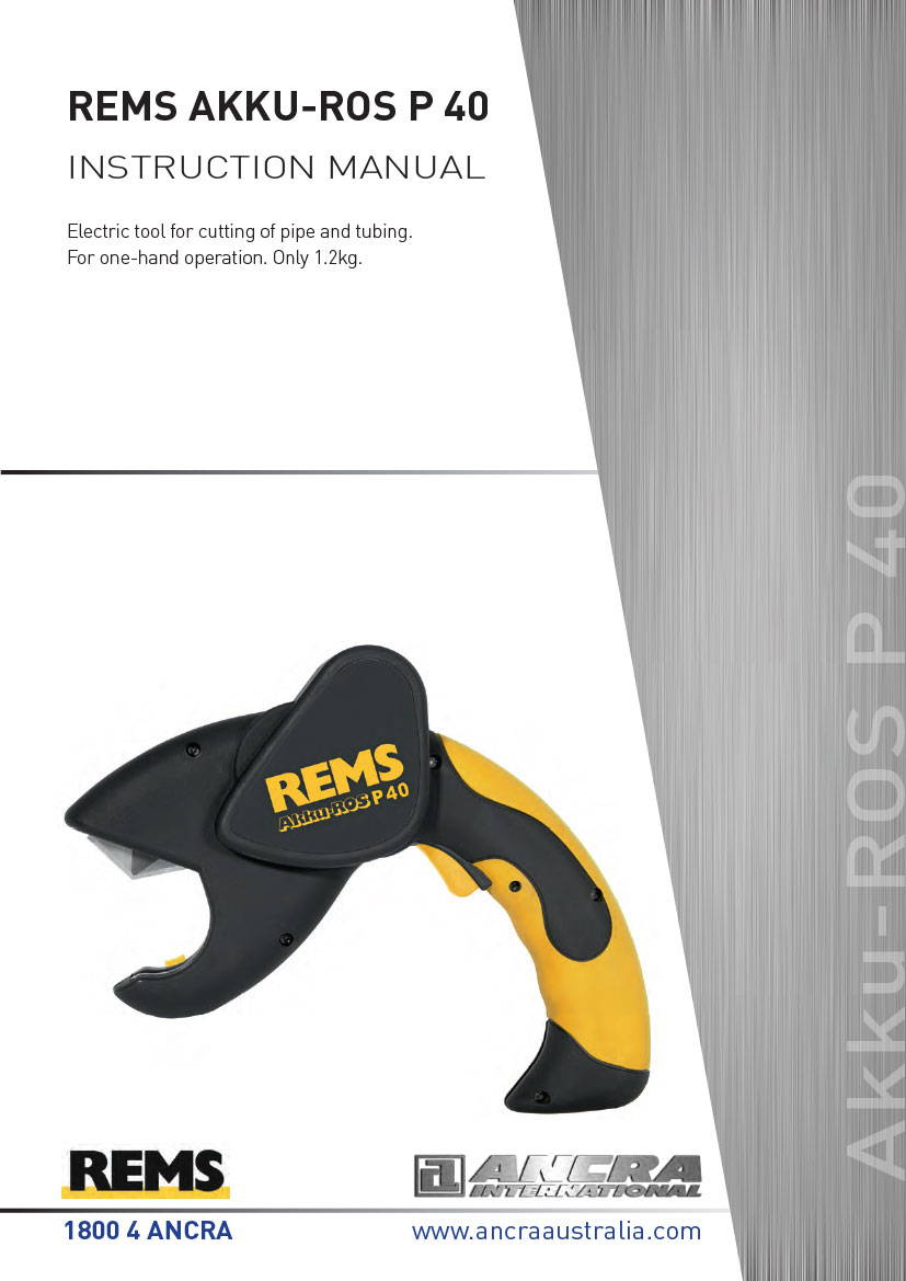 REMS AKKU-ROS P40 - INSTRUCTION MANUAL