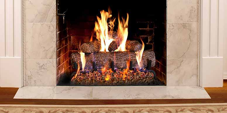 Real Fyre gas logs in a fireplace