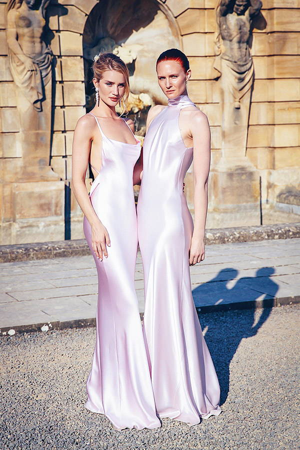 rosie huntington-whiteley in Galvan London Whiteley silk slip backless dress at wedding