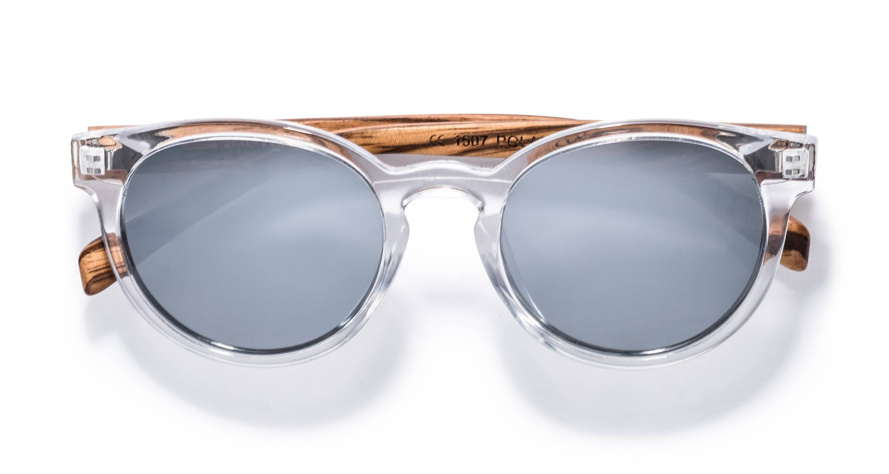Kraywoods Groove, reflective round Sunglasses made from Zebra wood with polarized mirrored lenses