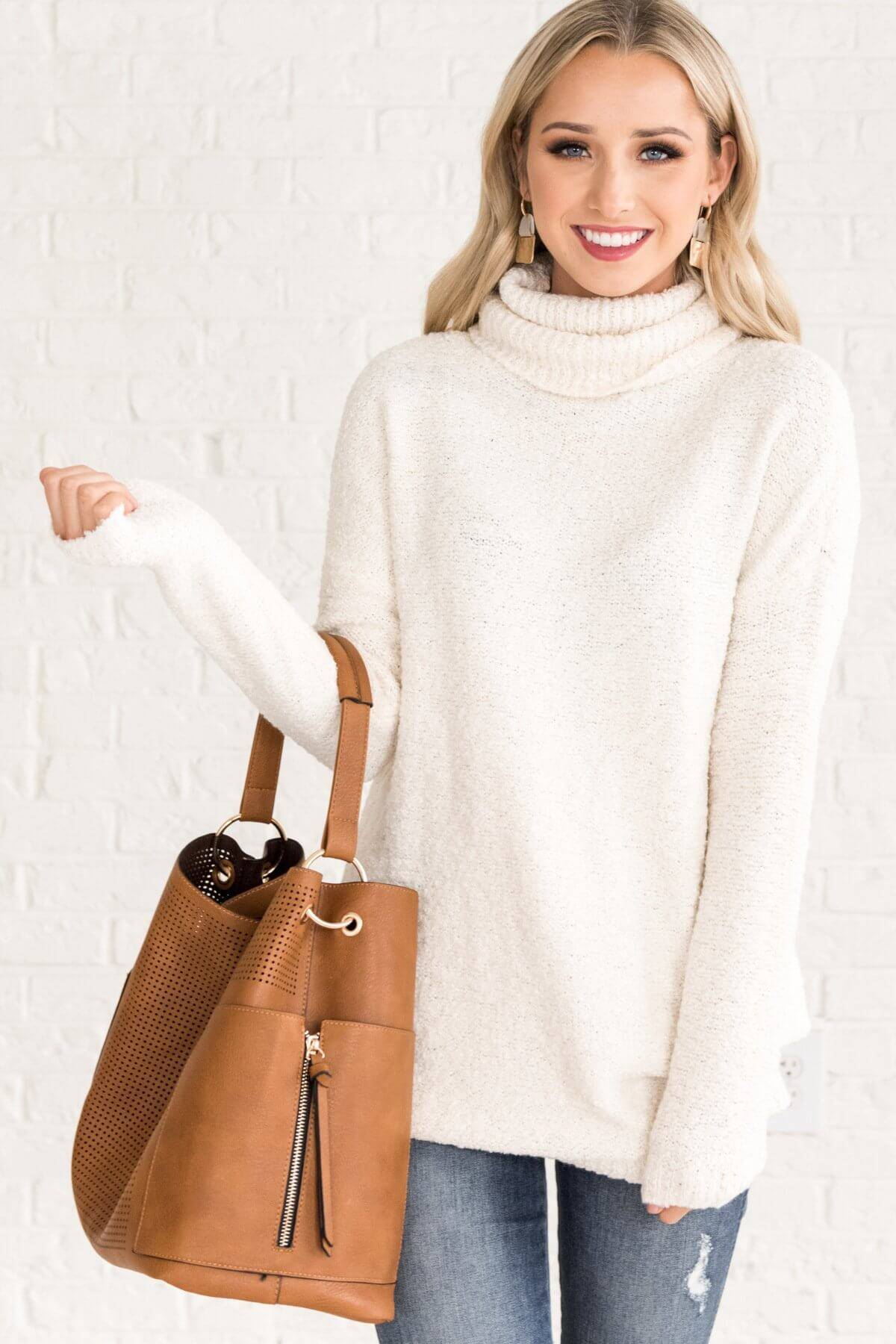 White Cute Cowlneck Soft Cozy Sweaters