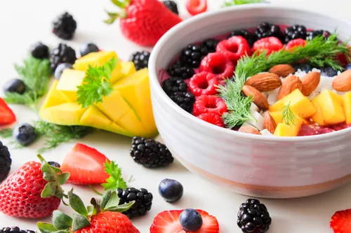 Healthy Fruit In A Bowl And Around The Bowl