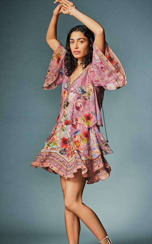 CAMILLA pink floral dress, camilla floral mini dress, camilla mini dress