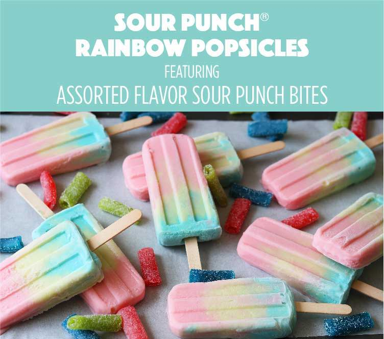 Sour Punch Rainbow Popsicles featuring Assorted Flavor Sour Punch Bites
