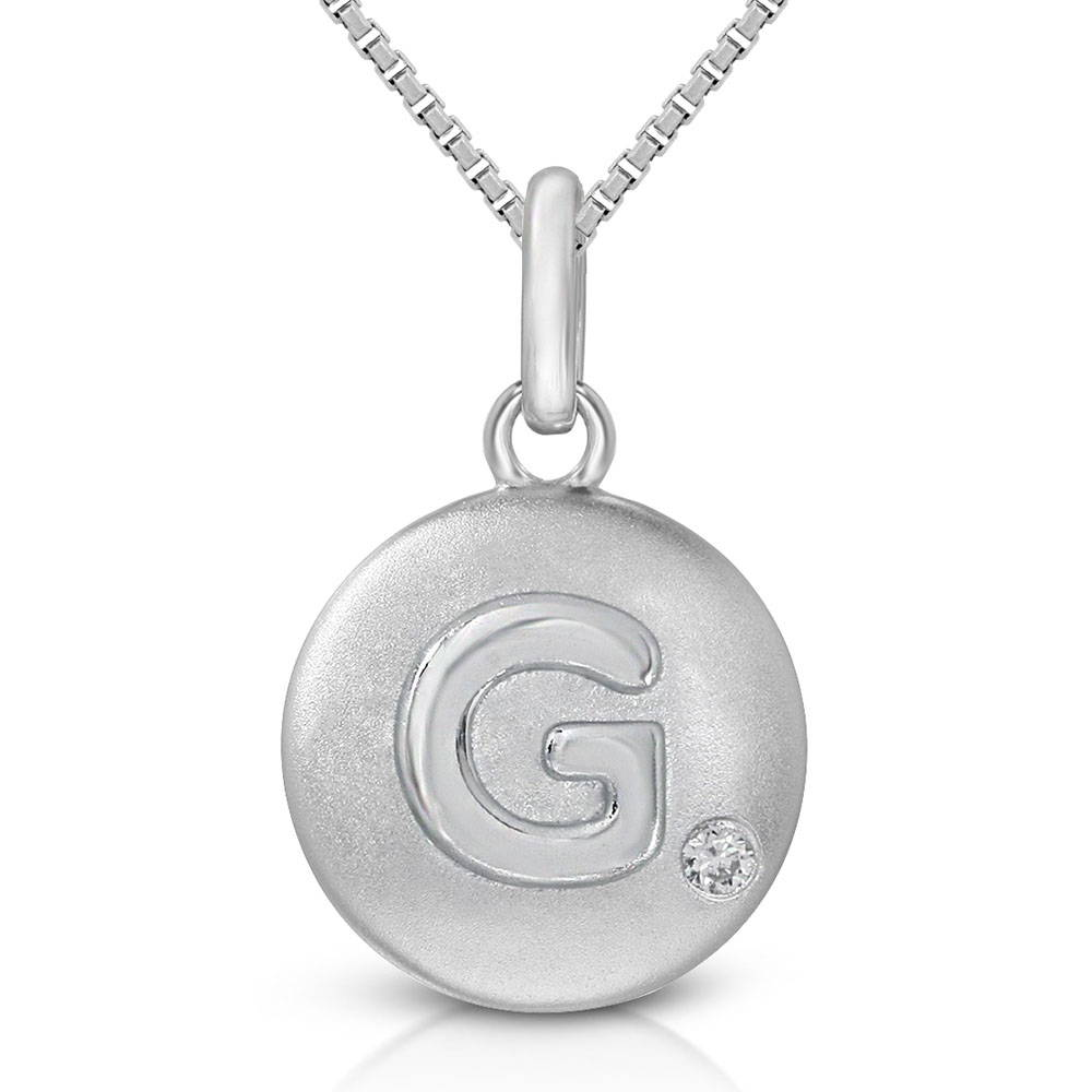 Pure at Birth letter G pendant with greek box necklace