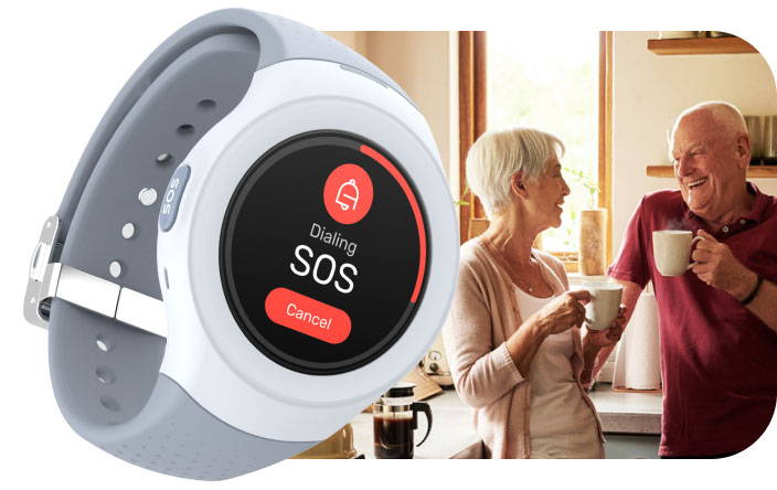 senior couple smiling with tea and coffe next to a close up image of Spacetalk Life watch screen showing SOS feature