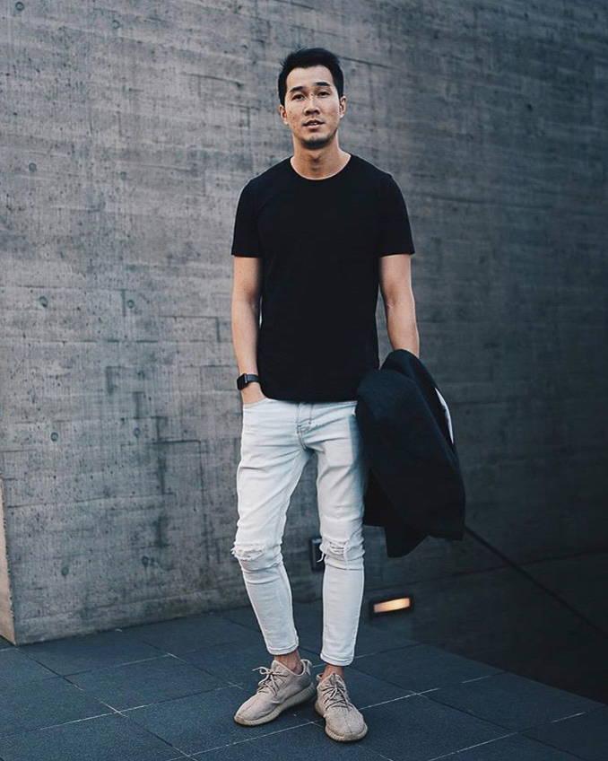 men organic cotton crew neck black t-shirt