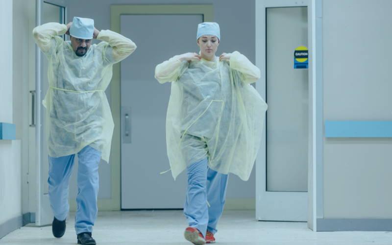 Doctors walking in a hospital hallway