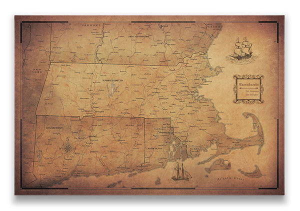 Massachusetts Push pin travel map golden aged