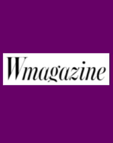 Purple rectangle icon with Wmagazine logo in center
