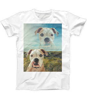 Super imposed dog dog art on mens shirt