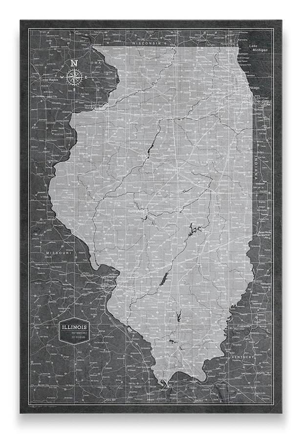 Illinois Push pin travel map modern slate