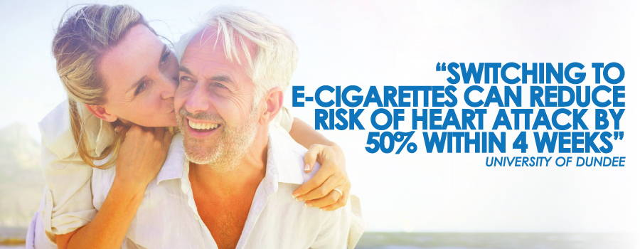 new study proves people who smoke who have a heart condition reduce the chance of heart attack by 50% by switching to e-cigarettes
