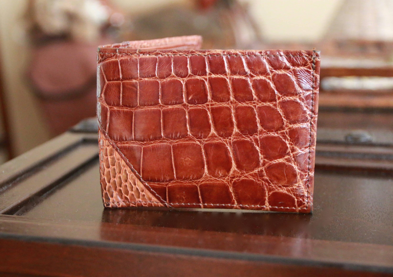 genuine alligator skin wallet for men