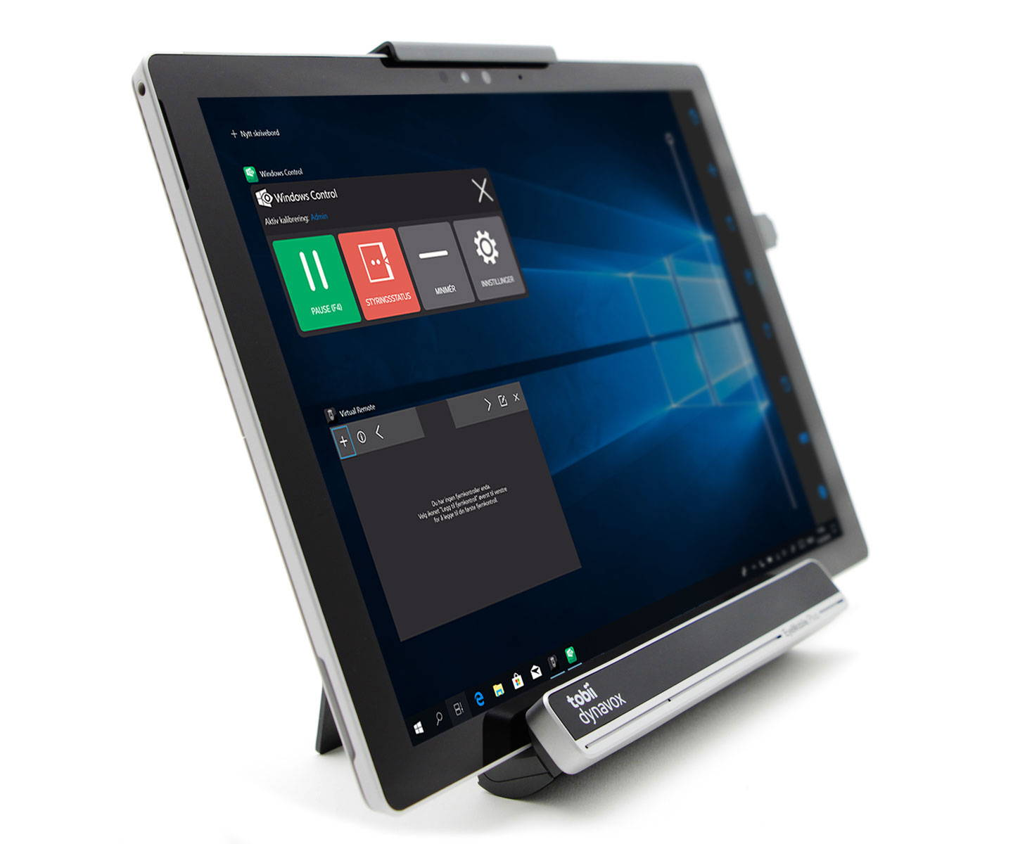 Tobii Dynavox EyeMobile Plus brakettløsning for øyestyring med nettbrettet Surface Pro og Windows Control